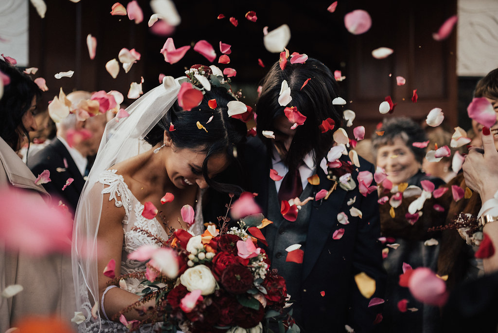 Winter wedding, melbourne wedding planner, wedding planner, wedding, potters warrandyte, potters, bride, groom, wedding dress, wedding stylist, melbourne event planner, love, wedding day, tradition, bride, wedding ceremony, just married, hitched, married, confetti, rose confetti, roses, red roses